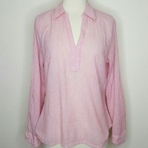 💗 Red pink and white striped popover blouse